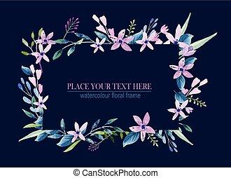 watercolor, bloemen, krans