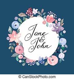 watercolor, bloemen, uitnodigingskaart, trouwfeest