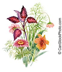Watercolor blooming garden flowers illustration.