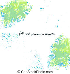 Watercolor blue-green background with thankful inscription for