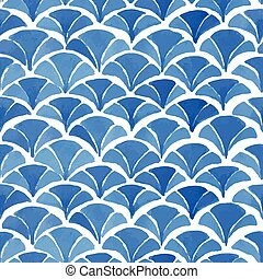 Watercolor blue japanese pattern.