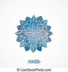 Watercolor blue lace pattern. Vector element. Mandala -...