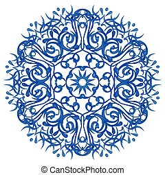 Watercolor blue mandala - Watercolor blue circular pattern...