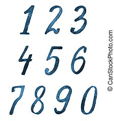 watercolor blue numbers set on white