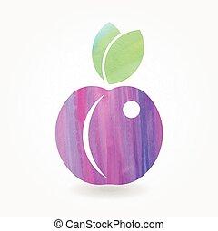 Watercolor blue plum icon