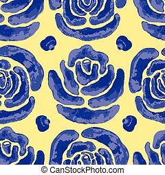 Watercolor Blue Rose Floral Seamless Vector Pattern