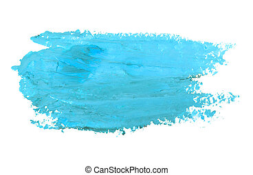 Watercolor blue smear isolated on white background.
