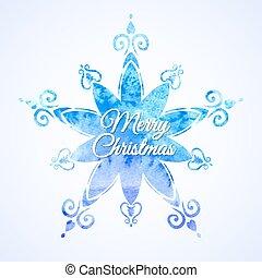 Watercolor blue snowflake