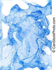 Watercolor Blue Splash. Alcohol Ink Painting Texture.