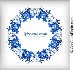 Watercolor blue vector background. Gzhel details?
