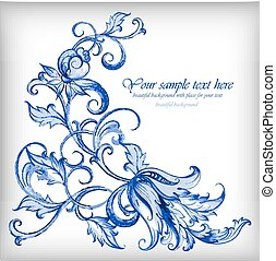 Watercolor blue vector background. Gzhel details