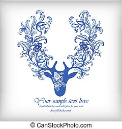 Watercolor blue vector deer with antlers .