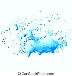 Watercolor blue water splash