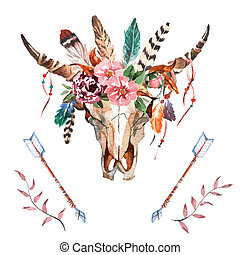 Watercolor isolated bull's head with flowers and feathers on white background. Boho style. Skull for wrapping, wallpaper, t-shirts, textile, posters, cards, prints Hand drawn image