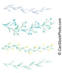 Watercolor borders - Set of 4 hand drawn watercolor borders...
