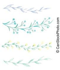 Watercolor borders - Set of 4 hand drawn watercolor borders ...
