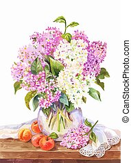 Watercolor bouquet of lilac in vase, and apricots on the wooden table