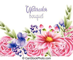 Watercolor bouquet of rose daisy and orchid flowers