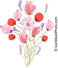 Watercolor Bouquet of tulips