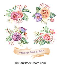 Watercolor Bouquets - Hand drawn watercolor bouquets....