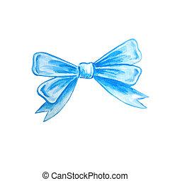 Watercolor bow blue ribbon