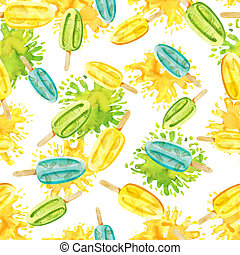 Watercolor bright green, yellow and blue popsicle seamless pattern on paint spots