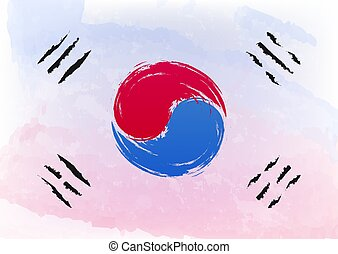 Watercolor brush flag of South Korea officially the Republic of Korea is a sovereign state in East Asia, yin yang symbol. Vector illustration