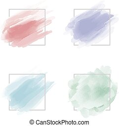Watercolor brush stroke with line frame on white background vector illustration
