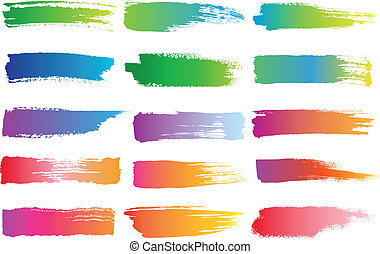 watercolor brush strokes, vector - set of abstract colorful...