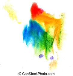 watercolor brush yellow green blue stroke red abstract art artistic isolated background