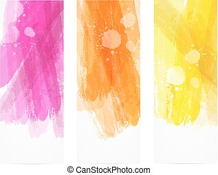 Watercolor brushed lines banners. Banner horizontal templates with ...