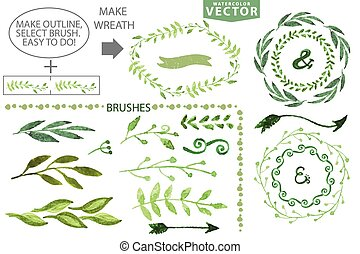 Watercolor brushes and wreath set. Vintage floral laurel, branches