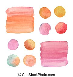 watercolor brushes isolated on white paper