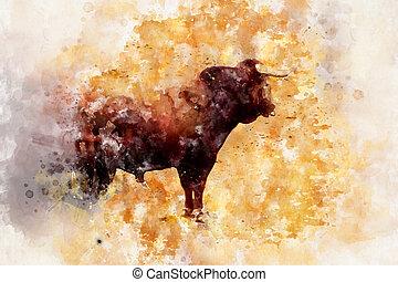 Watercolor, Bullfight in arena, Madrid Spain