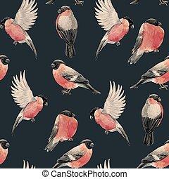 Watercolor bullfinch bird pattern - Beautiful pattern with ...