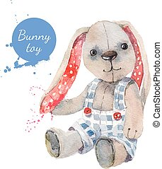 Watercolor bunny toy. Vector illustration for greeting card