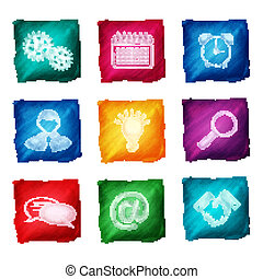 Watercolor business icons