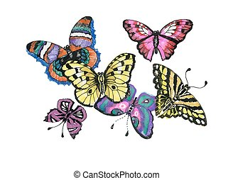 Watercolor butterflies set isolated on white background.