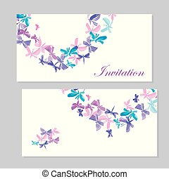 watercolor butterfly invitation template for  wedding. hand drawn traced element with abstract flower like butterfly