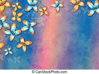 Watercolor Butterfly Paper Background Collage
