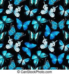 Watercolor butterfly pattern vector