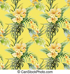 Beautiful vector pattern with nice watercolor canna flowers