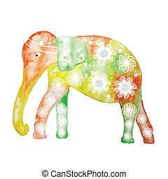 Watercolor cartoon elephant, cute vector illustration