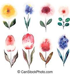 Watercolor cartoon flowers set. Vector illustration
