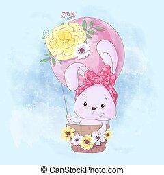 Watercolor cartoon illustration of a cute rabbit in a balloon