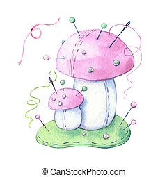 Watercolor cartoon needle needle fungus with thread and sewing needles. illustration.