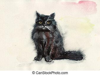 Watercolor cat. Original painting by Veronika Surovtseva.
