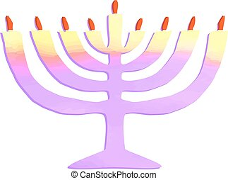 Watercolor Chanukiah. Jewish holiday Hanukkah. Vector...