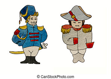 Watercolor characters dragoon and french general
