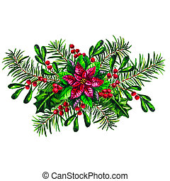 Christmas arrangement with red Poinsettia plant isolated